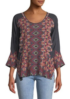 Johnny Was Moni 3/4-Sleeve Embroidered Blouse
