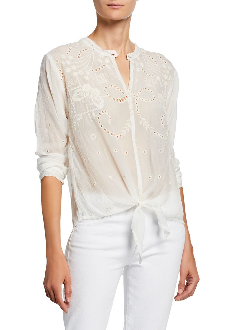 Johnny Was Naple Long-Sleeve Tie-Front Eyelet Georgette Top