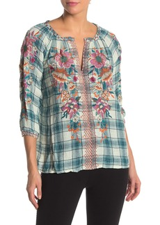Johnny Was Nena Embroidered Plaid Peasant Top