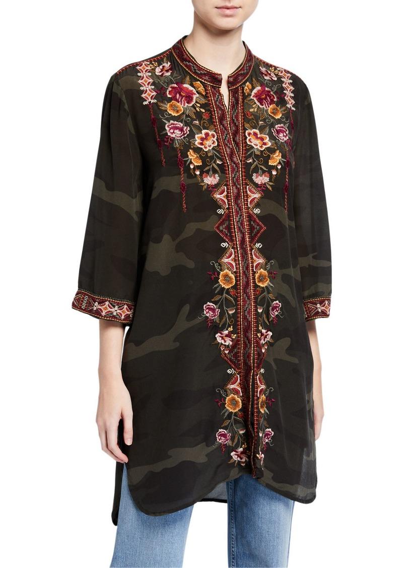 Johnny Was Nepal Camo Kimono-Sleeve Tunic w/ Embroidery