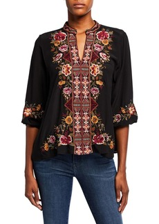 Johnny Was Nepal Embroidered Effortless Swing Blouse