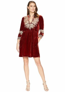 Johnny Was Olenna Velvet Henley Boho Dress