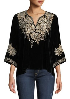 Johnny Was Petite Ollena Floral-Embroidered Velvet Top