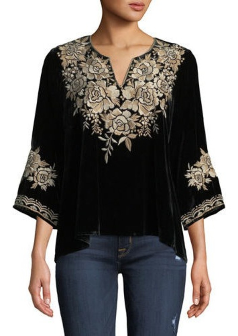 Johnny Was Plus Size Ollena Floral-Embroidered Velvet Top