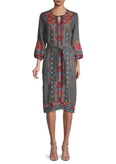 Johnny Was Ornella Embroidery Tie-Belt Dress