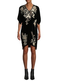 Johnny Was Othilia V-Neck Embroidered Velvet Kimono Dress