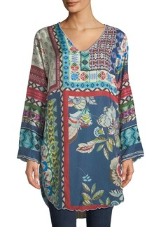 Johnny Was Otisenia Mixed-Print Shirttail Tunic