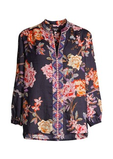 Johnny Was Paris Floral Embroidered Blouse