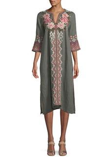 Johnny Was Parnaz Embroidered Caftan Dress