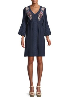 Johnny Was Pascal 3/4-Sleeve Embroidered Silk Crepe de Chine Dress
