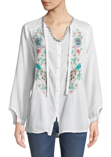 Johnny Was Peacock Embroidered Button-Front Peasant Blouse