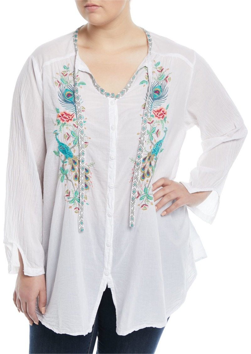 2548e6049be Johnny Was Peacock Embroidered Button-Front Peasant Blouse