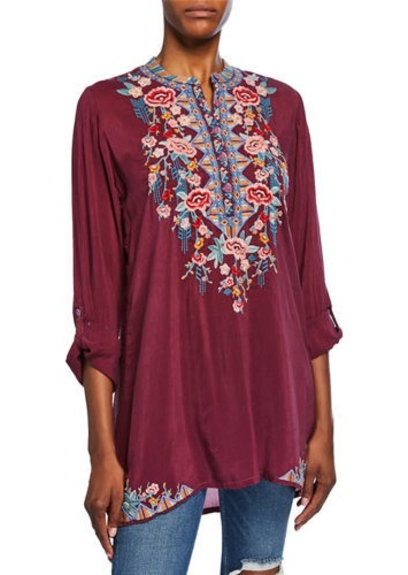 Johnny Was Petite Beatrix Embroidered Mandarin-Collar Tunic