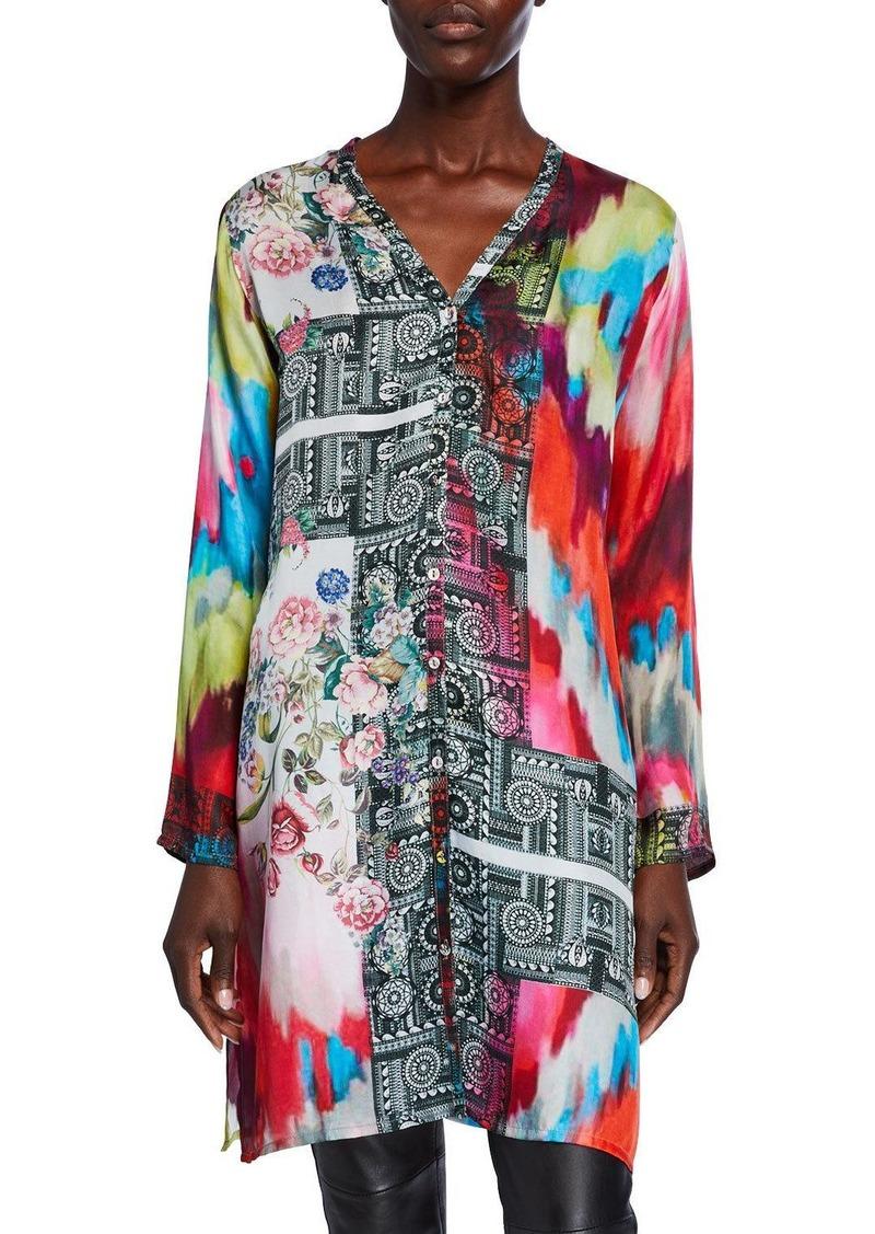 Johnny Was Petite Beriah Silk Twill Button-Front Long-Sleeve Silk Shirt