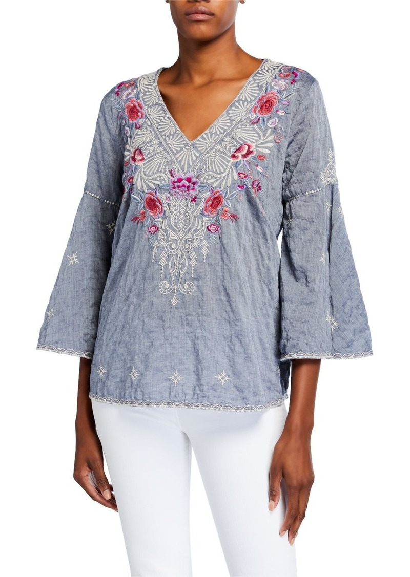 Johnny Was Petite Caelynn V-Neck Swing-Sleeve Embroidered Top
