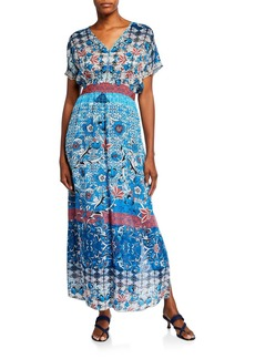 Johnny Was Petite Carmel Short-Sleeve Long Dress w/ Slip