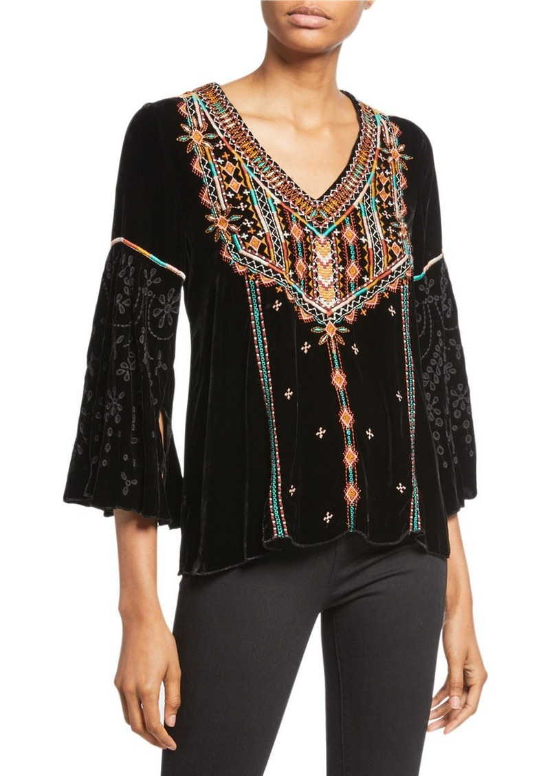 Johnny Was Petite Chiri Embroidered Velvet Swing Blouse
