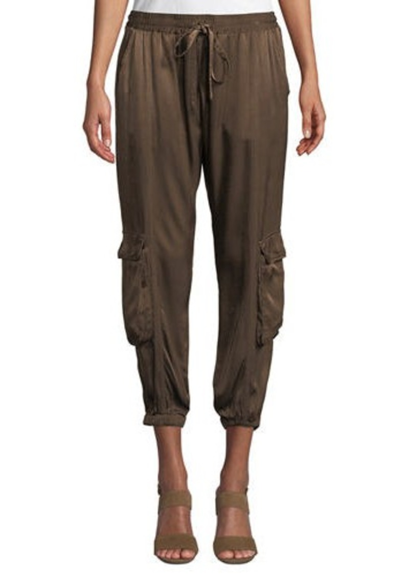Johnny Was Petite Cropped Satin Cargo Pants