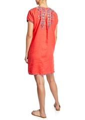 0f4fe04620e ... Johnny Was Petite Etienne Embroidered Short-Sleeve Easy Linen Tunic  Dress
