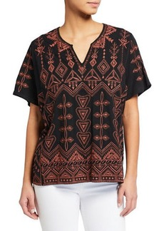 Johnny Was Petite Eyal Short-Sleeve Embroidered Boxy Tee