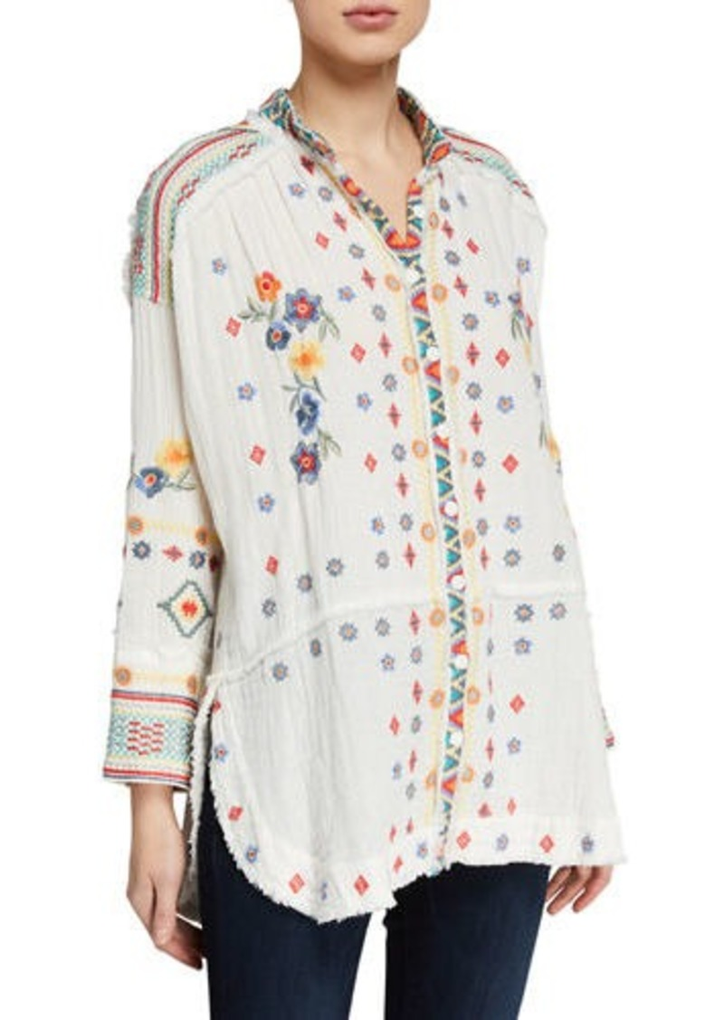 Johnny Was Petite Florence Embroidered Long-Sleeve Gauze Blouse