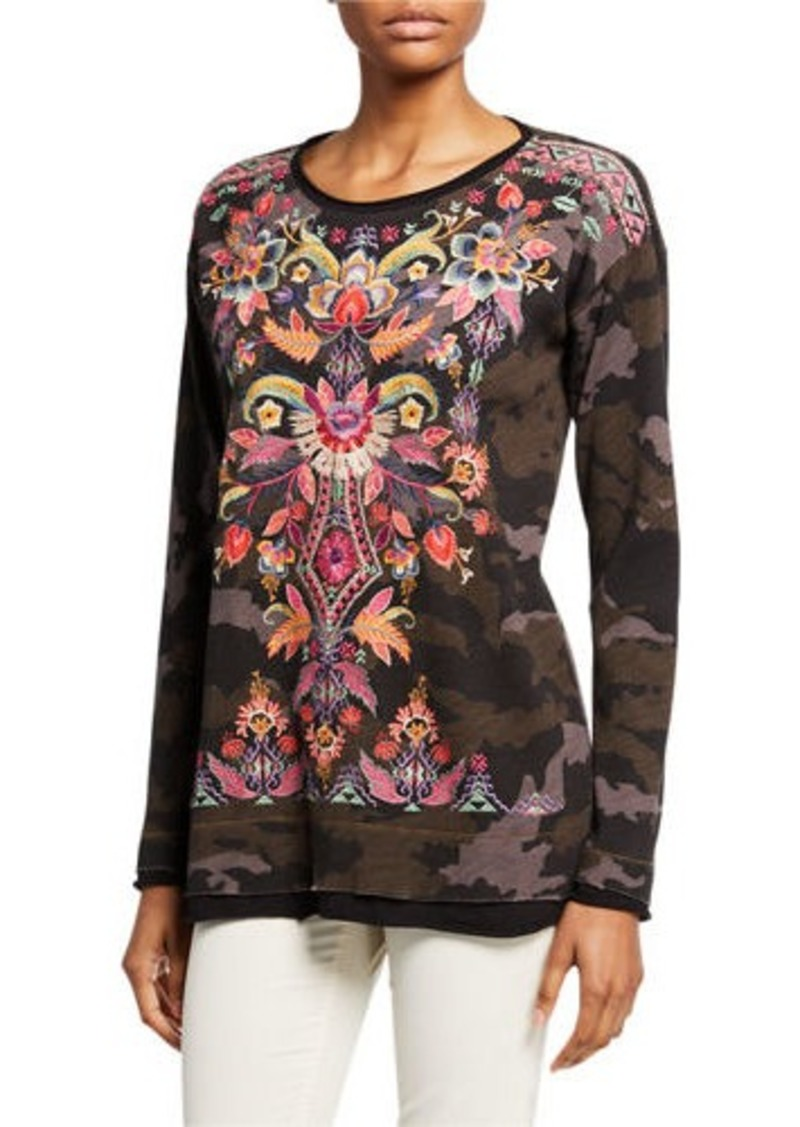 Johnny Was Petite Ioana Long-Sleeve Embroidered Thermal Top