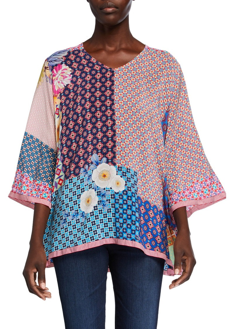 Johnny Was Petite Jade Mixed-Print V-Neck 3/4-Sleeve Silk Top