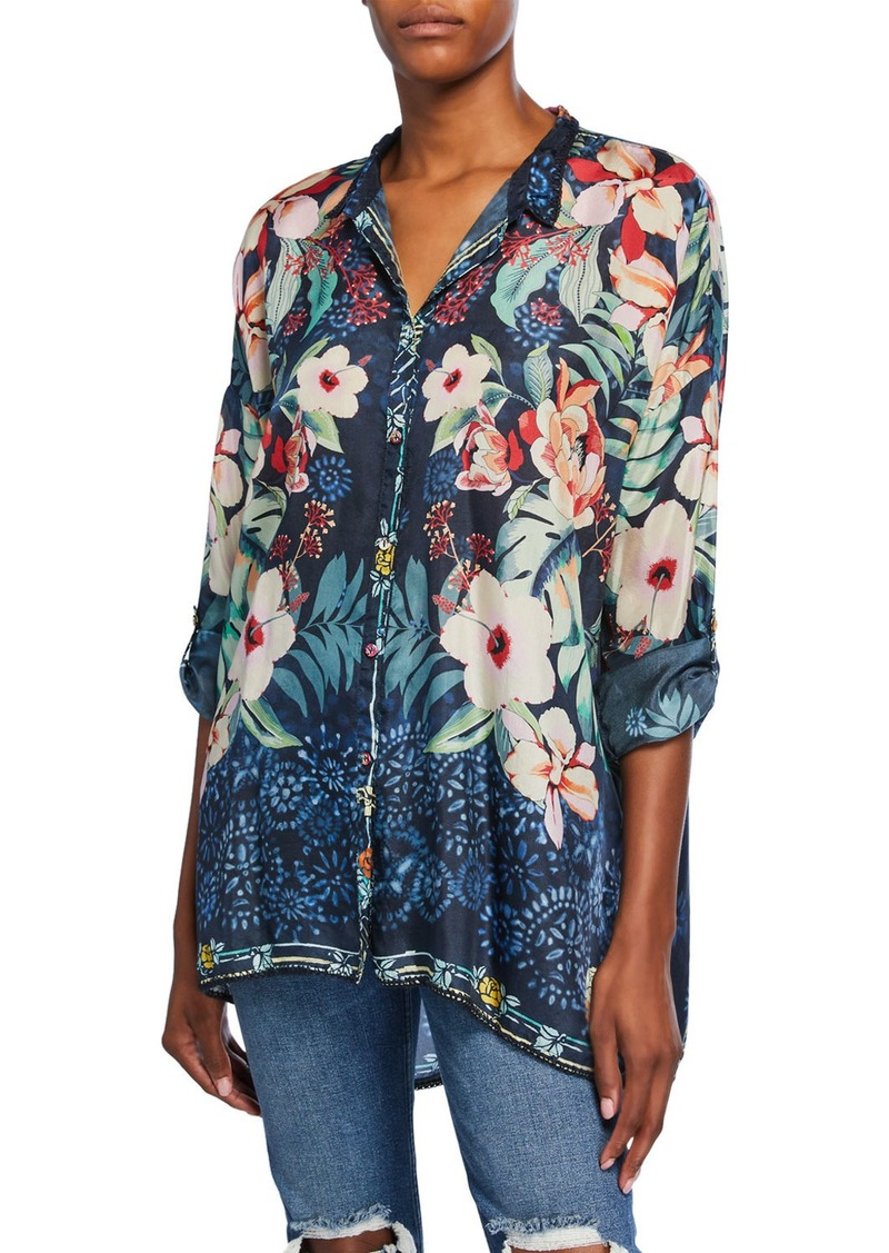 Johnny Was Petite Nelia Floral-Print Button-Front Long-Sleeve Silk Shirt