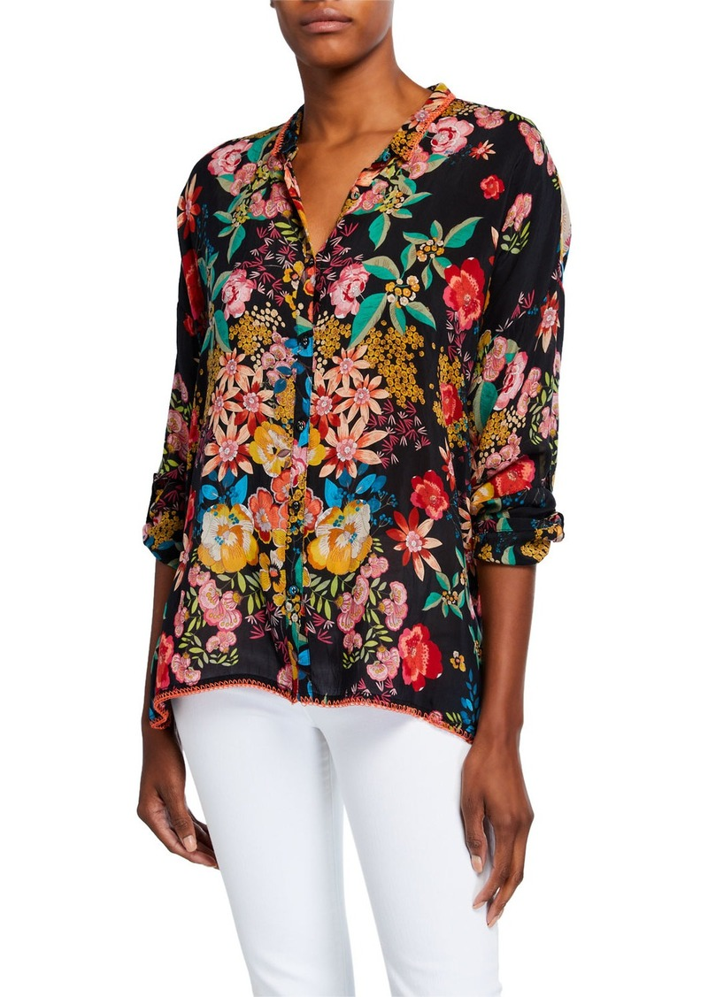 Johnny Was Petite Poppy Floral Print Button-Front Long-Sleeve Blouse