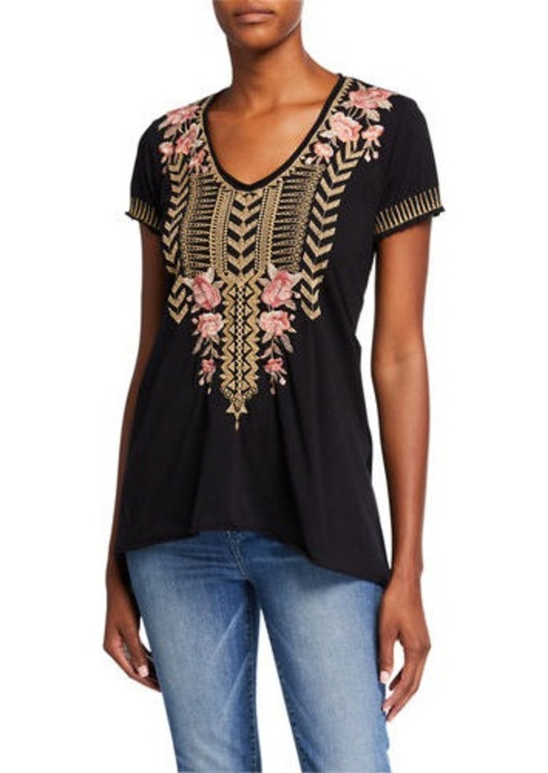 Johnny Was Petite Rianne Embroidered Knit Drape Top