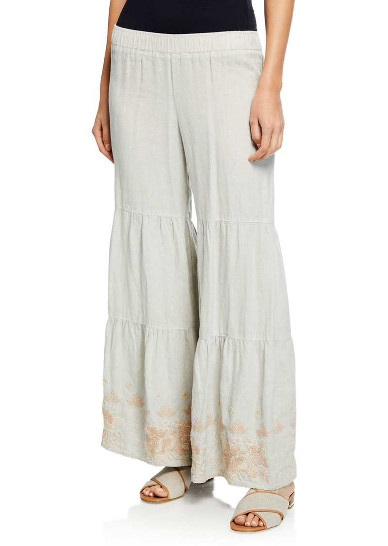 Johnny Was Petite Sienne Wide-Leg Tiered Linen Palazzo Pants w/ Embroidered Hem