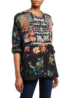 Johnny Was Petite Veda Silk-Print Blouse with Embroidery