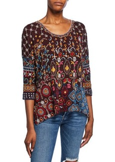 Johnny Was Petite Zora Embroidered Scoop-Neck 3/4-Sleeve Top