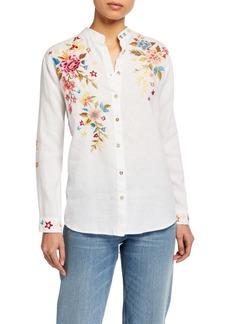 Johnny Was Plus Size Amara Embroidered Oversized Mandarin-Collar Shirt