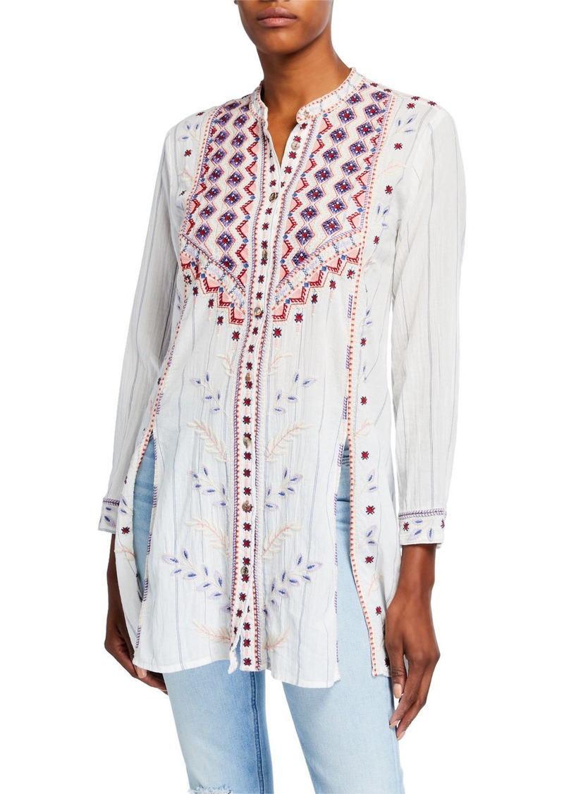 Johnny Was Plus Size Amarynth High-Slit Embroidered Front Tunic