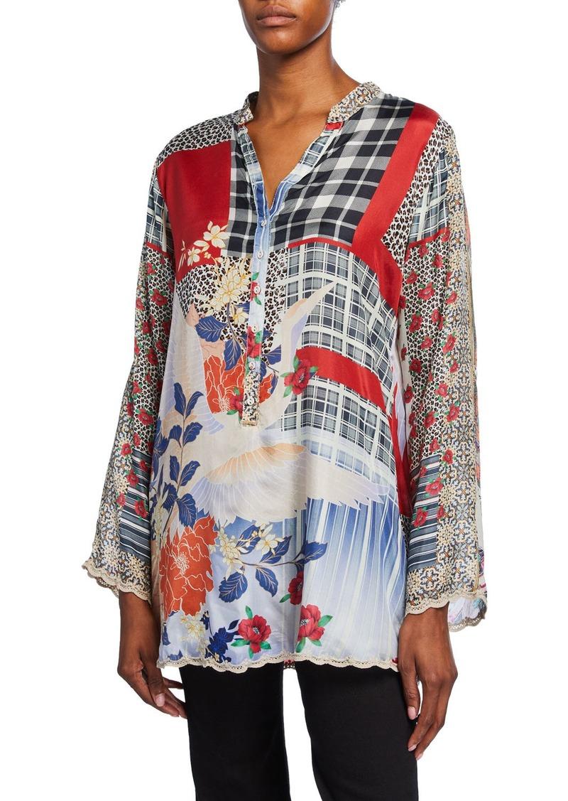 Johnny Was Plus Size Ample Mixed Media Long-Sleeve Silk Tunic w/ Mandarin Collar