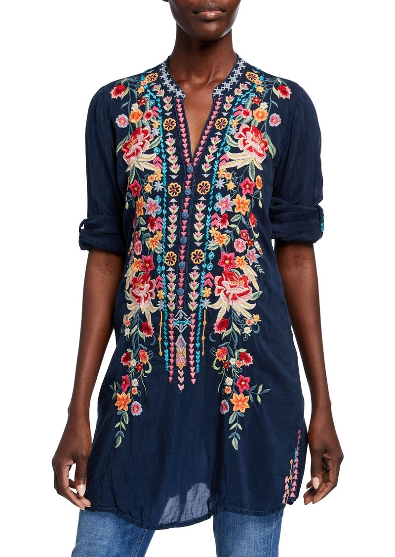 Johnny Was Plus Size Annette Floral Embroidered V-Neck Tunic w/ Mandarin Collar