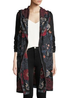 Johnny Was Plus Size Bella Hooded Open-Front Embroidered Cardigan