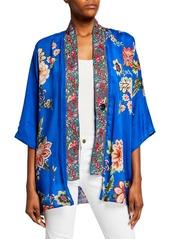 Johnny Was Plus Size Bonian Floral Georgette Kimono w/ Embroidered Trim