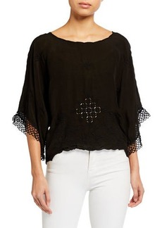 Johnny Was Plus Size Brando Cropped Elbow-Sleeve Top