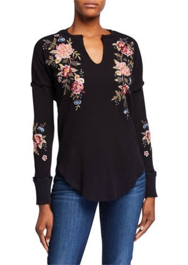 Johnny Was Plus Size Britton V-Neck Thermal Top w/ Floral Embroidery