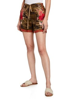 Johnny Was Plus Size Burken Linen Shorts w/ Floral Embroidery