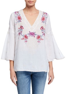 Johnny Was Plus Size Caelynn Embroidered Front Swing-Sleeve Linen Top