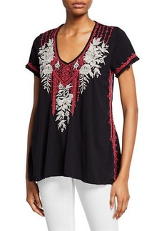Johnny Was Plus Size Camille Embroidered Drape V-Neck Short-Sleeve Cotton Top