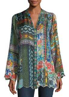 Johnny Was Plus Size Cane Silk Twill Tunic