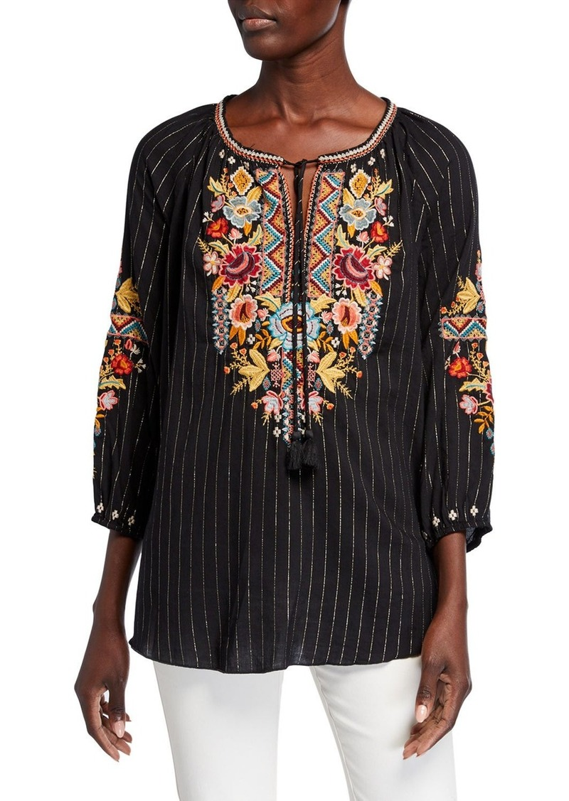 Johnny Was Plus Size Clansy Metallic Stripe Multi Embroidered Peasant Blouse