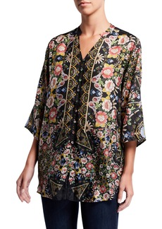 Johnny Was Plus Size Corin Floral-Print Silk Button-Down Top