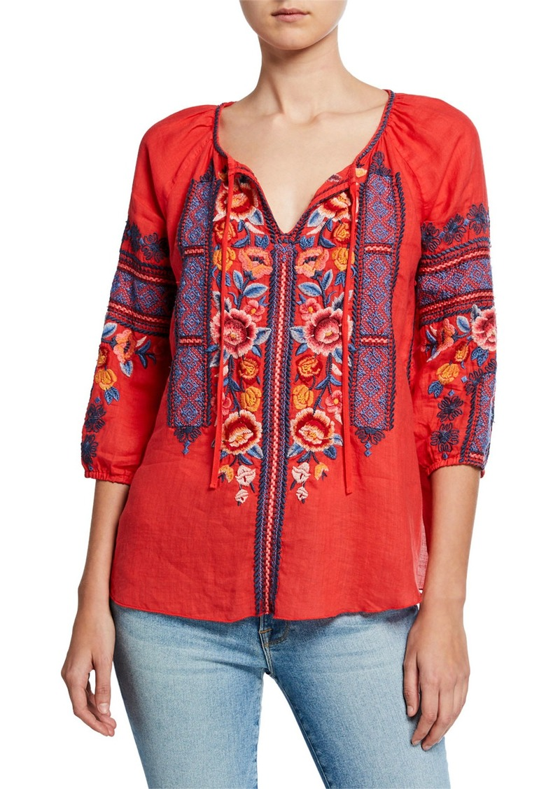 Johnny Was Plus Size Dani Embroidered Split-Neck 3/4-Sleeve Linen Peasant Blouse