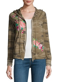Johnny Was Plus Size Dorana Embroidered Camo Hoodie