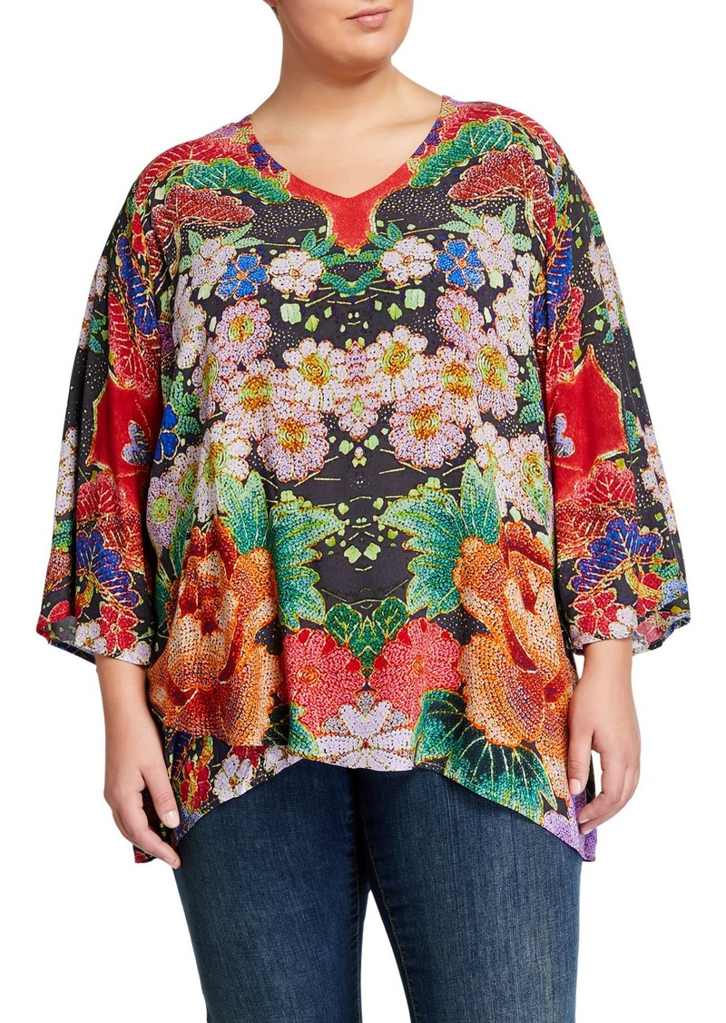 Johnny Was Plus Size Dralion Printed Challis V-Neck Top